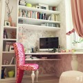 apartment-lovely-pink-floral-work-chair-with-minimalist-white-book-rack-and-classic-computer-corner-table-27-attractive-small-studio-apartment-decoration-ideas