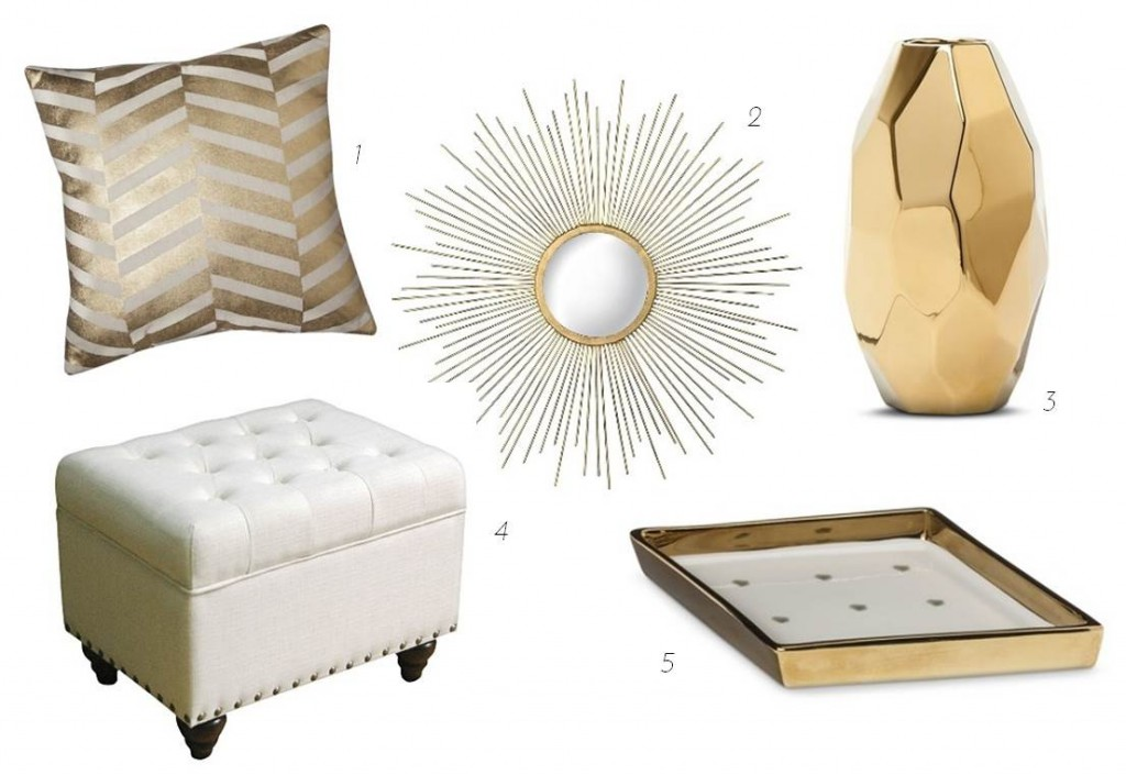 Update your apartment with glam white gold accessories midtown girl - Gold home decor accessories paint ...