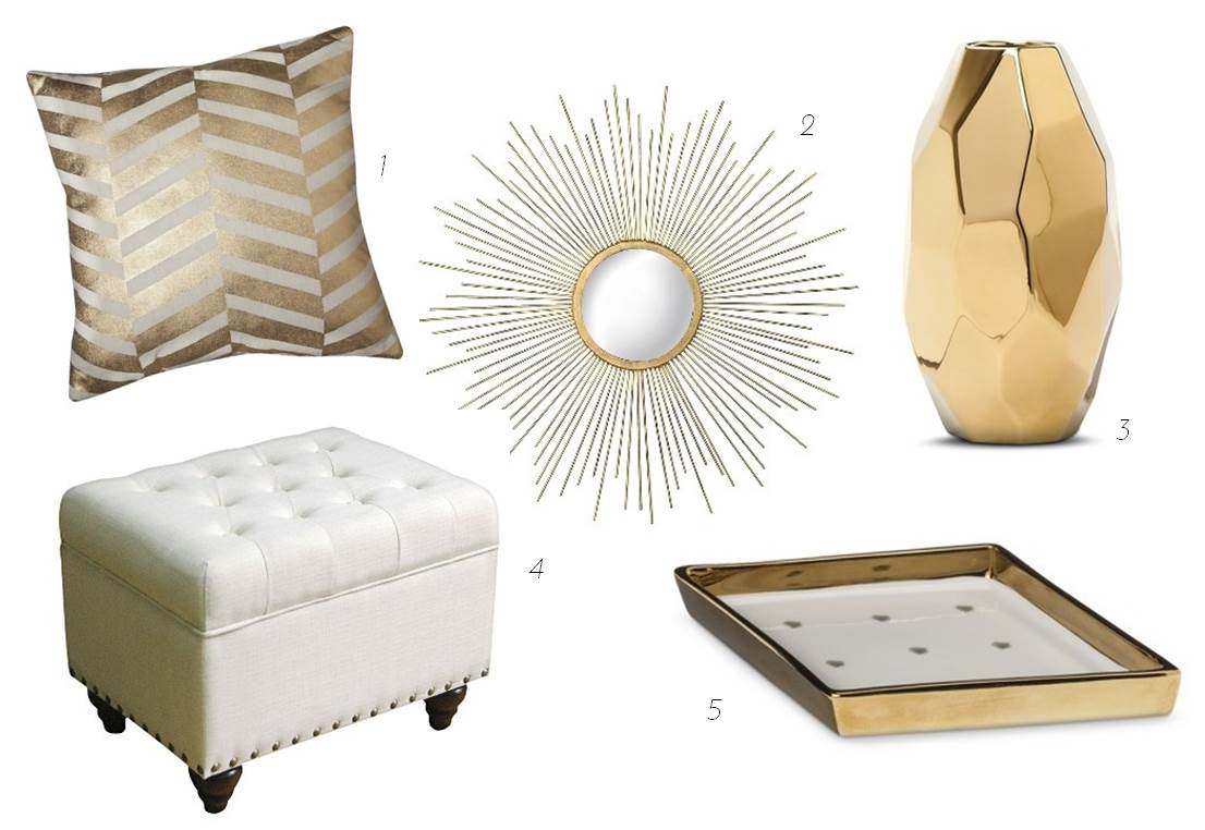 Update your apartment with glam white gold accessories for Home decor accessories