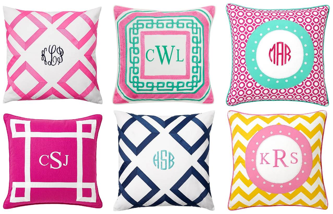 and embroidered black at monogrammed white home pillow in h
